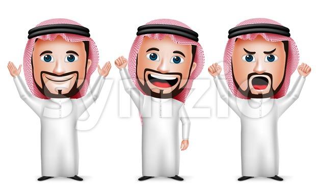 Arab Saudi Man Vector Character Raising Hands Stock Vector