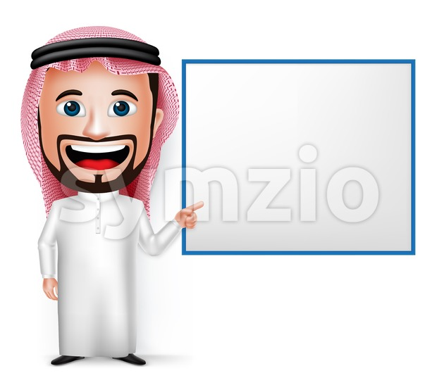 Vector Saudi Arab Man Character Showing Board Stock Vector