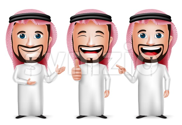 3D Realistic Saudi Arab Man Cartoon Character Stock Vector
