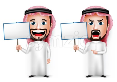 Saudi Arab Man Cartoon Character Holding White Board Stock Vector