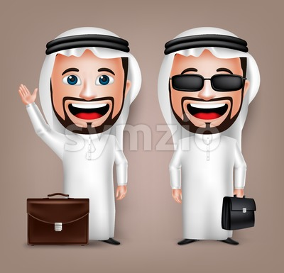 Saudi Arab Man Holding Briefcase Vector Character Stock Vector