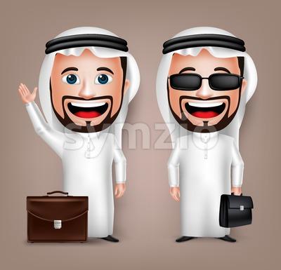 Saudi Arab Man Holding Briefcase Vector Character Stock Vector