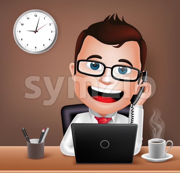 Realistic 3D Businessman Character Working on Office Desk Table with Laptop Talking on Telephone Vector Illustration. This vector character was designed ...