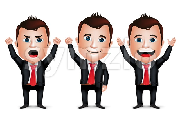 Businessman Cartoon Character Set in Vector Stock Vector