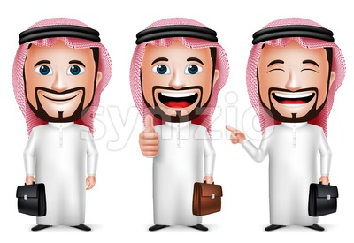 Vector Saudi Man Arab Character Holding Briefcase Stock Vector