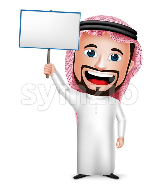 Saudi Man With Placard Arab Vector Character Stock Vector