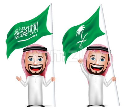 Saudi Man with Flag Arab Vector Character Stock Vector