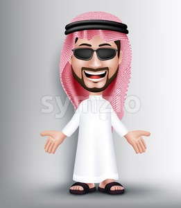 Saudi Arab Man Character Posing and Talking Stock Vector