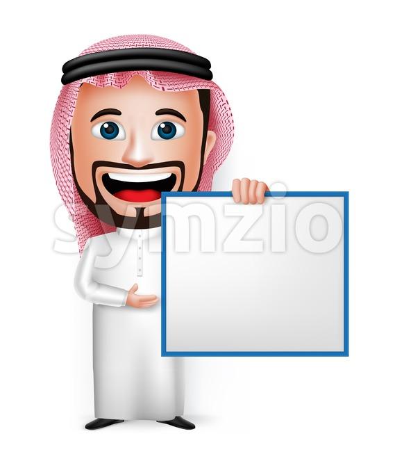 Vector Saudi Arab Man Character Holding Board Stock Vector