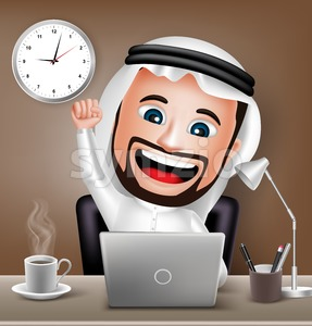 Arab Man Character Working on Business Stock Vector