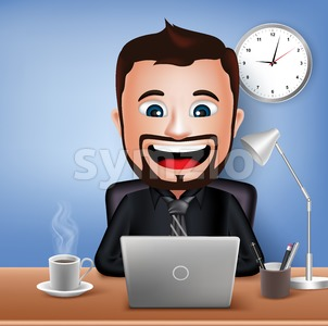 Vector Businessman Character in Office Desk Stock Vector