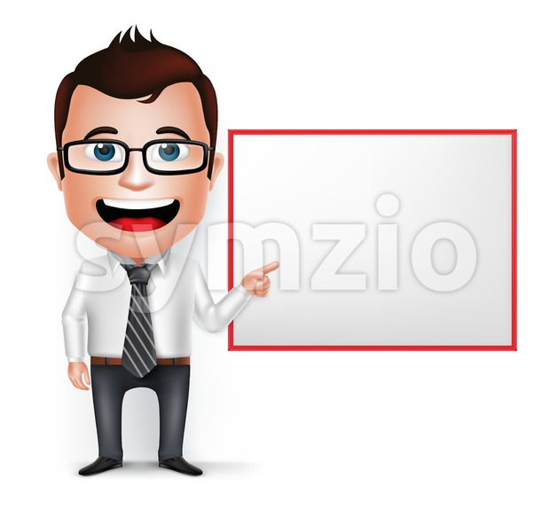 Businessman Cartoon Character With White Board Stock Vector