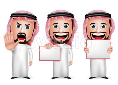 Saudi Arab Man Cartoon Character Set Holding Stock Vector