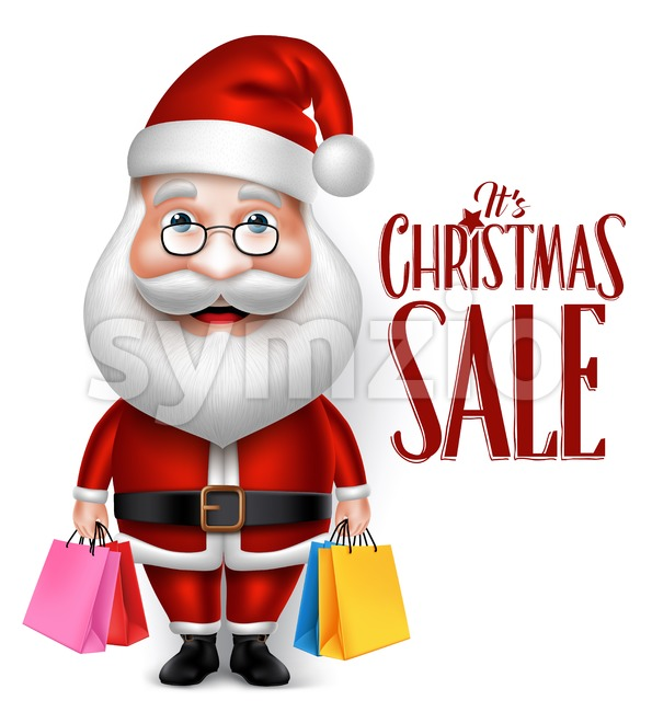3D Realistic Santa Claus Character Holding Shopping Bags Isolated in White Background Vector Illustration.This christmas vectorwas design with 3D realistic ...