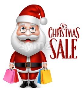 Santa Claus Character Holding Shopping Bags Stock Vector