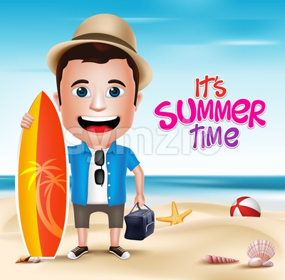 Vector Man Character Wearing Summer Outfit Stock Vector