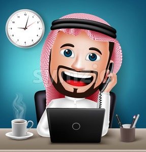 Saudi Arab Man Character Working on Office Stock Vector