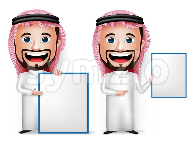 Saudi Arab Man Cartoon Character with Blank Board Stock Vector