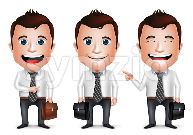 3D Realistic Businessman Character Holding Briefcase for Traveling Isolated in White Background Set of Vector Illustration. This vector character was designed with ...
