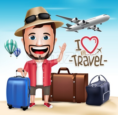 3D Realistic Tourist Man Vector Character Stock Vector