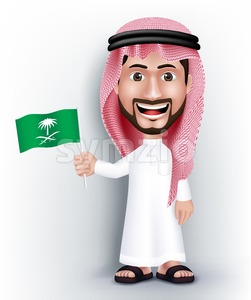 Saudi Arab Man Character Holding Flag in Vector Stock Vector