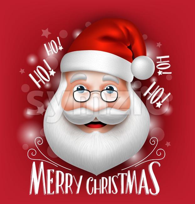Santa Claus Head Vector Greeting Merry Christmas Stock Vector