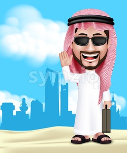 Saudi Arab Man With Traveling Bag in Vector Stock Vector