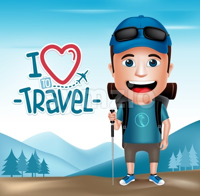 3D Realistic Young Hiker Character in Vector Stock Vector