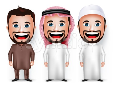 Vector Cartoon Character of Saudi Arab and Pakistani Stock Vector