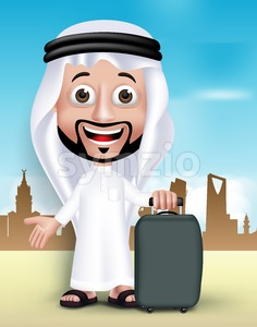 Saudi Arab Man Wearing Thobe Vector Character Stock Vector