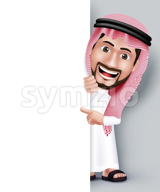 Saudi Arab Man Character in White Board Vector Stock Vector