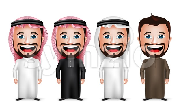 Saudi Arab Man Cartoon Character Set in Vector Stock Vector