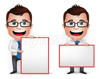Vector Businessman Character Holding Blank Board Stock Vector