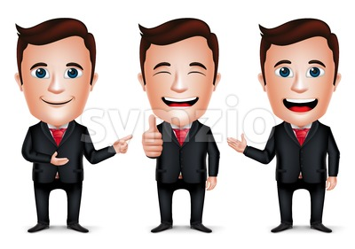 Businessman Vector Character with Different Pose Stock Vector