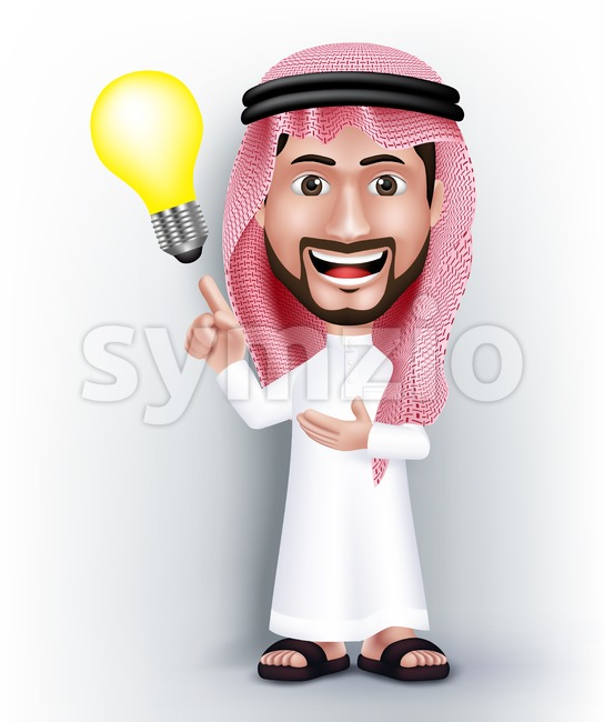Vector Saudi Arab Man Character with Idea Stock Vector