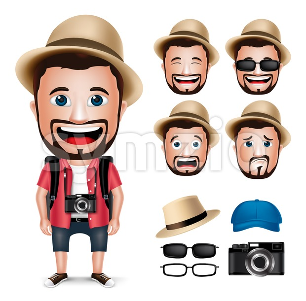 Tourist Man Character Wearing Casual Dress Stock Vector