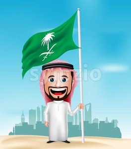Saudi Arab Man Cartoon Character Waving Flag Stock Vector