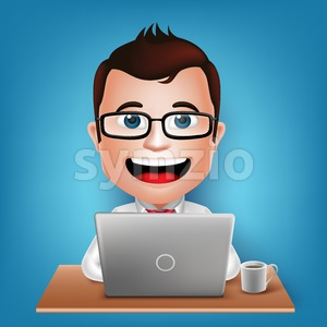 Busy Businessman Cartoon Character in Vector Stock Vector