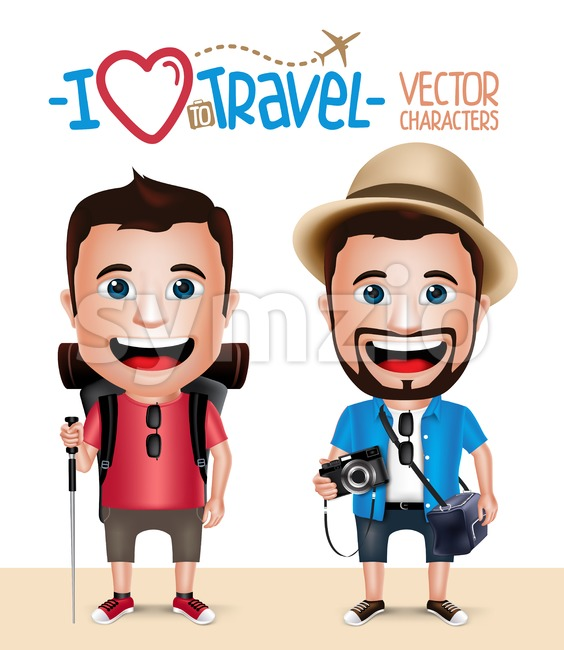 3D Realistic Tourist Man Vector Characters Wearing Casual Dress with Camera and Hiker Mountain Climber Isolated in White Background Set ...