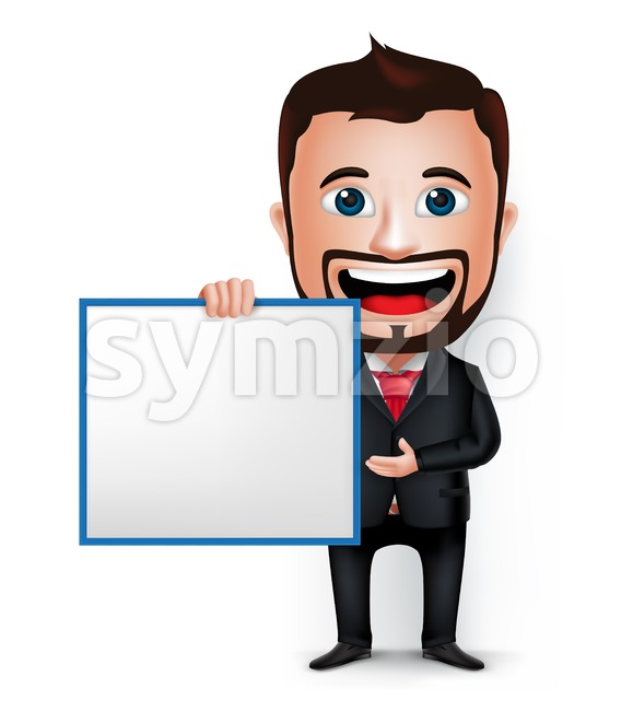 Vector Businessman Cartoon Character Holding Stock Vector