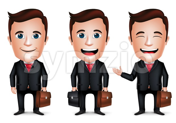 Businessman Vector Character Holding Briefcase Stock Vector