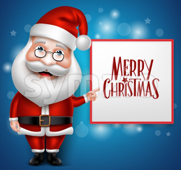 Vector Santa Claus Cartoon Character Showing Stock Vector