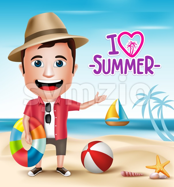 Vector Beach Character Wearing Summer Outfit Stock Vector