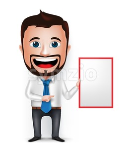 Businessman Cartoon Character Holding White Board Stock Vector