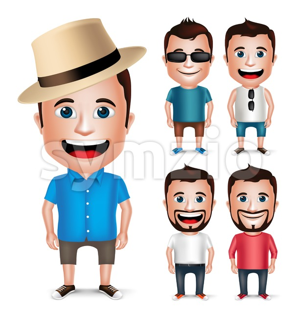 3D Realistic Young Vector Character Set Wearing Summer Casual Dress for Fashion Isolated in White Background Vector Illustration.  This  vector ...