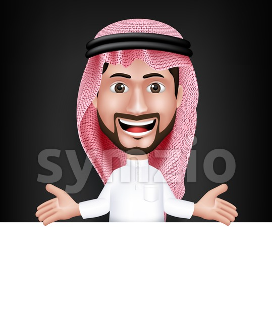 Saudi Arab Man Character Showing White Board Stock Vector