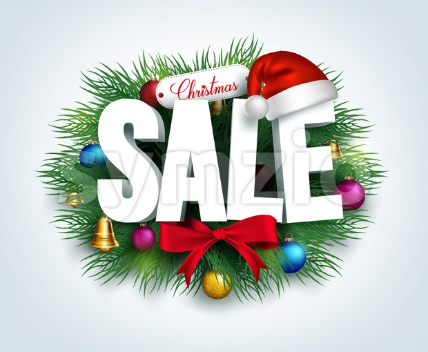 3D Christmas Sale Text for Promotion Stock Vector