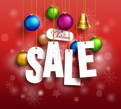 3D Christmas Sale Text Hanging for Promotion Stock Vector