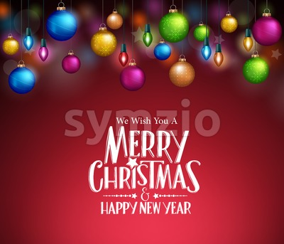 Christmas Lights and Balls in Dark Background Stock Vector