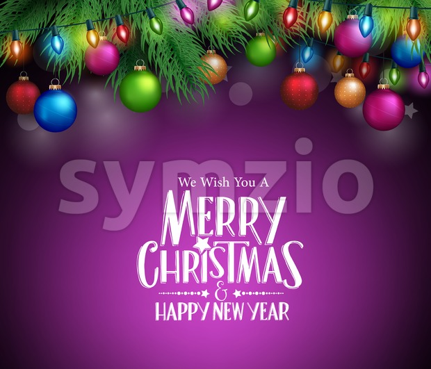 Christmas Greetings with Christmas Decorations Stock Vector